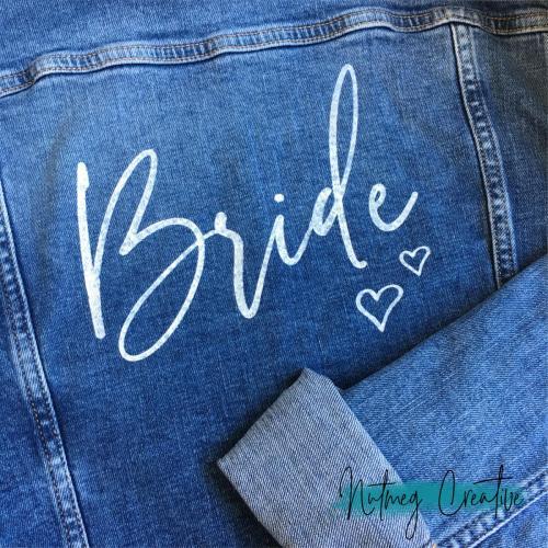 $40 Hire<br>Hand painted 'Bride' denim jacket<br>Size 12 H&M Conscious Brand
