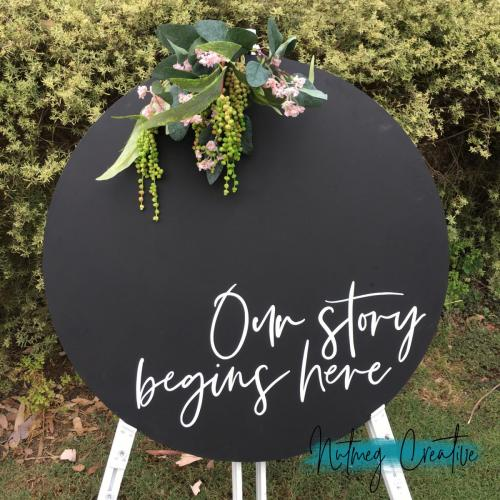 $40 Hire<br>Round Chalkboard<br>'Our story begins here / I will love you forever even when you're hangry <br>600mm
