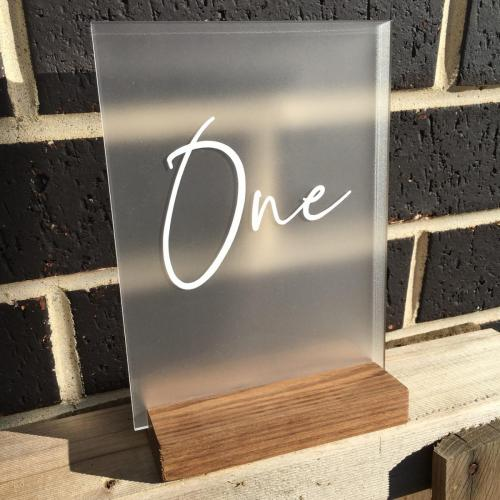 From $28<br>Mini Frosted Acrylic with Wooden Stand<br>Approx. A5 / <br>Clear, Frosted, White & Black available. <br>Clear acrylic can be roughly painted on back for a unique look