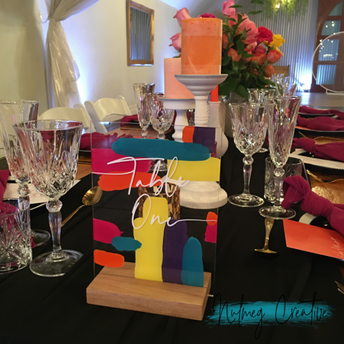 $5 each Hire<br> Bright Painted Table Numbers<br> Tables 1-10 available