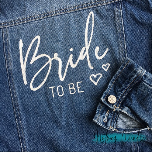 $35 Hire<br>Hand painted 'Bride to be' denim jacket<br>Size 12