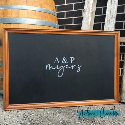 $40 Hire<br>Extra Large Framed Chalkboard<br>Supplied blank <br>Appox. 680mm x 1040mm<br>Chalkboard artwork available