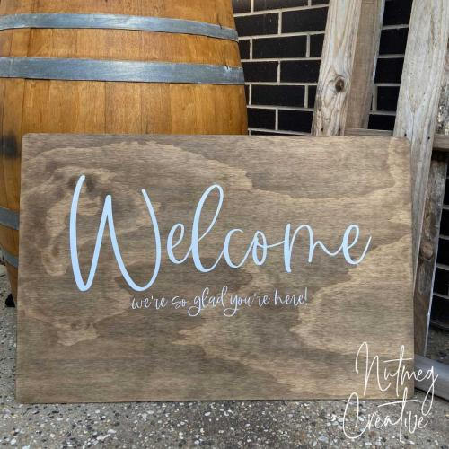$60 Hire<br>Large Wooden Welcome Sign<br>Approx. 600 x 900mm<br>*Names as can be added by request*